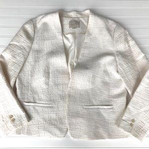 Ann Taylor Textured Crop Jacket Blazer, Lined, L